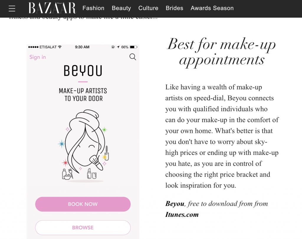 Beyou - Harpers Bazaar best beauty Apps