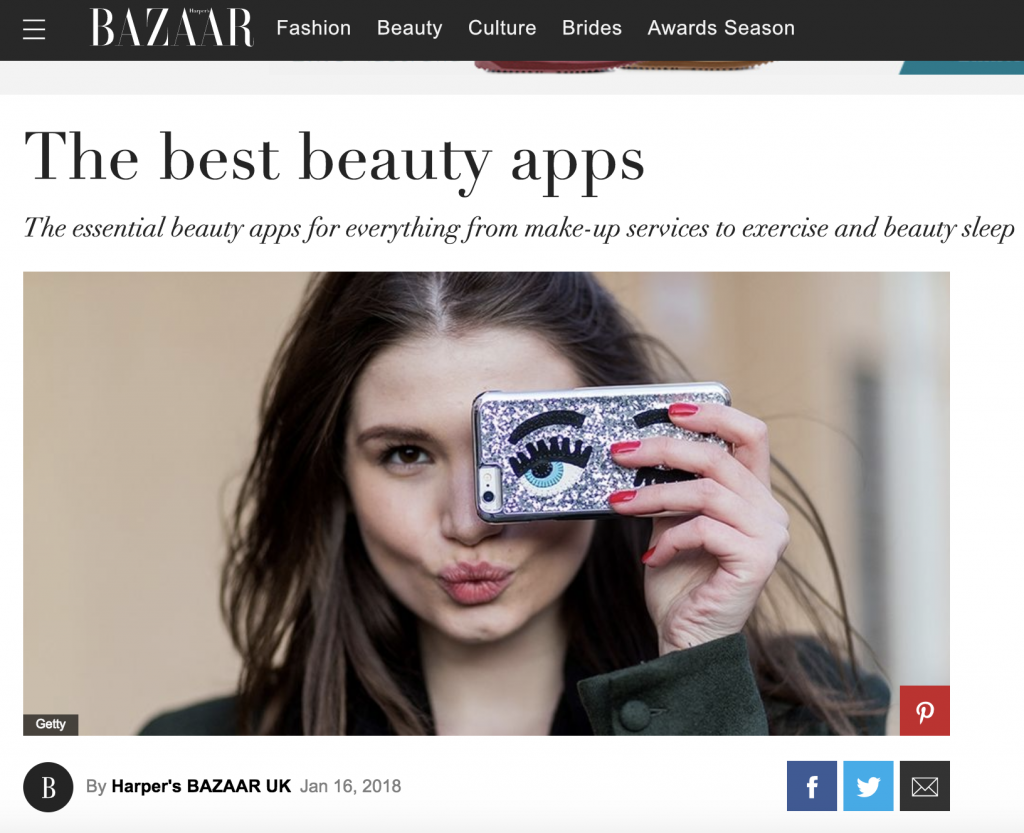 Beyou make-up App Harpers Bazaar feature